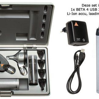Complete BETA 400 LED Otoscoop/Oogspiegel set met USB handvat-0